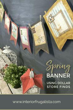 Aged Dollar Store Find Spring Banner