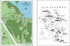 Bild på två kartor; Ulriksdal och Hagaparken.