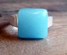 Blue quartz ring