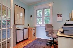Light blue walls make this office look spacious and relaxing. 90 Main Street North, Campbellville