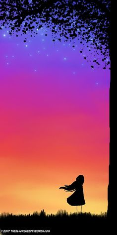 Beautiful sunset silhouette art. The color palette is gorgeous. For the days when I have zero motivation to do stuff. Sunset digital art painting. Starry night sky.