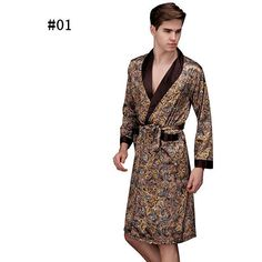Sexy Printing Imitation Silk Pajamas with Belt Long Sleeve Robe for... ($24) ❤ liked on Polyvore featuring men's fashion, men's clothing, men's sleepwear, men sleepwear robes, white, men's apparel, mens clothing, mens silk bathrobes, mens bathrobe and mens sleepwear