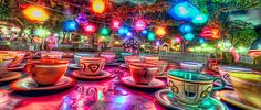 Teacups at Disney at night :)