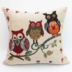 Uniifurn Decorative Square Throw Pillow Cover Pillowcase Cushion Cover 20x20 Inches, Jacquard Cute Owl on Both Sides (Three Owls) >>> Final call for this special discount  : Decorative Pillows