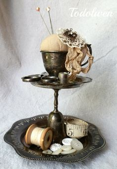 Tarnished Sewing Tray and Pincushion by Todolwen on Etsy