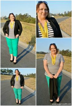 2f42ef58cf712 plus size green jeans with stripe tee Collage