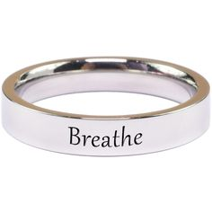 Pink Box Solid Stainless Steel Inspirational RingBreathe/5 ($9.99) ❤ liked on Polyvore featuring jewelry, rings, jewelry & watches, silver, band rings, stainless steel jewelry, engraved rings, engraved stainless steel rings and pink ring