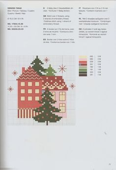 Cross Stitch House, Cross Stitch Tree, Cross Stitch Patterns, Christmas Cross, Embroidery, Cards, Handmade, Cross Stitch Pictures, Embroidery Stitches
