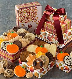 Cheryl's Autumn Tin Tower - assortment of buttercream frosted cookies, including the NEW maple flavored leaf cut-out cookies and our delightful owl cut-out cookie.