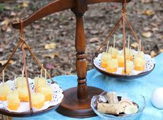 really clever! cheese & pineapple bites - for wine tastings