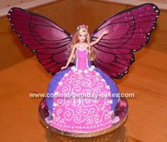 Barbie Cake: First I found the most perfect Barbie for my sister in law because she loves fairies! This is a Mariposa Barbie but her wings were so beautiful I thought