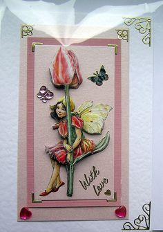 Tulip Fairy HandCrafted 3D Decoupage Card  With by SunnyCrystals, $3.55.  Buy 2 or more of my Decoupage cards and receive 10% Discount