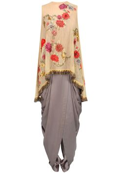 Steel grey cowl draped jumpsuit with beige floral embroidered cape available only at Pernia's Pop Up Shop.