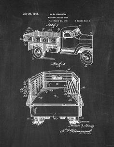 Military Vehicle Body Patent Print Art Poster Chalkboard (13' x 19')
