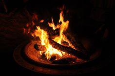 Orange burning fire bowl