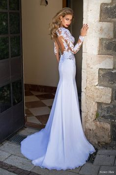 nurit hen summer 2014 illusion long sleeve wedding dress back view