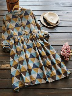 $34.99 Geometric Print Long Sleeves Shirt Dress - COLORMIX ONE SIZE