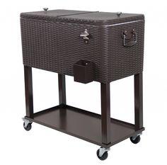 Outdoor Wicker Cooler Cart