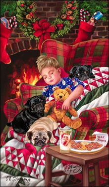 """SORRY SOLD OUT Pug Christmas Holiday Cards are 8 1/2"""" x 5 1/2"""""""