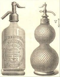 El sifón o agua de Seltz . Sus comienzos se remontan al siglo XVII  . Imagen:Sifón francés estampado al ácido. Se puede observar el refinamiento del grabado