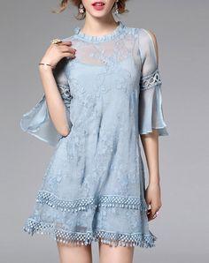 Blue Jacquard Ruffle Fringe Sheer Mini Shift Dress