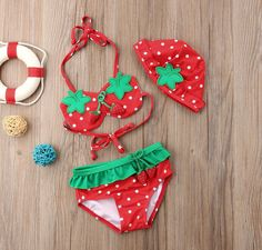 Strawberry Bikini Set - May 11 2019 at Baby Bikini, Bikini Set, Twin Baby Girls, Cute Baby Girl, Toddler Girl, Cute Outfits For Kids, Toddler Outfits, Baby Fruit, Baby Girl One Pieces