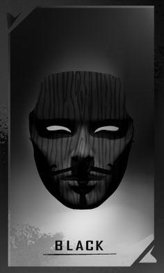 BLACK mask for FAWKES novel, artwork by @mishmadoodls