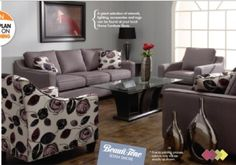 """idea for wall colour that would go with our gray couches.. and a reminder we need an """"accent chair"""" tehehe"""
