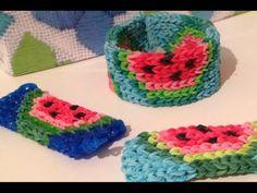 Watermelon Mini Mural Bag Tag Charm or Bracelet Rainbow Loom Tutorial - YouTube