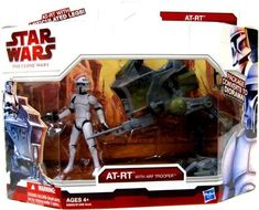 """Star Wars Deluxe Figure & Vehicle  - CLONE SCOUT with AT-RT by Hasbro. $29.66. Star Wars: The Clone Wars 3 3/4"""" animated action figure line from Hasbro. For Ages 4 & Up. ARF Trooper Deluxe figure comes with vehicle and weapon accessory. Join the team and get ready for excitement with your AT-RT Vehicle! Relive events from The Clone Wars series with this exciting 3 3/4 inch scale set of toys that includes a Clone Trooper and his trusty one-man walker. It's just what yo..."""