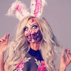 Hope you haven't missed out on this cute lil bunny look!🐰DIY Bunny ears & makeup tutorial link in bi Creepy Makeup, Zombie Makeup, Sfx Makeup, Cosplay Makeup, Costume Makeup, Bunny Halloween Makeup, Bunny Makeup, Halloween Looks, Scary Halloween Costumes