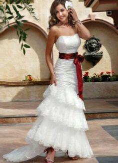 Trumpet   Mermaid Strapless Chapel Train Satin Unique Brides Wedding Dress  White Wedding Dresses 7cf1f8fe7dfd