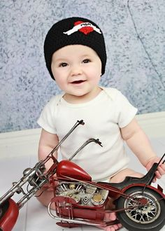 5664cab8719 Biker Beanie with I Love Mom Tattoo for Infant by snarkyowlcrafts