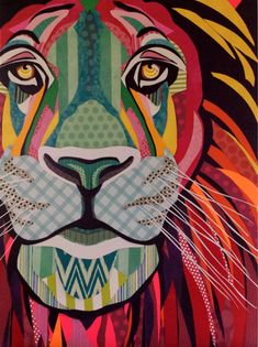 """Scrapbook paper collage art, by Laura Yager, """"Big Kitty"""", lion art, abstract lion, lion face, Safari animals, big cats"""