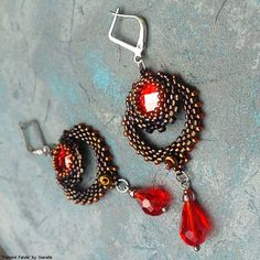Femme Fatale earrings - Swarovski round chessboard flat back stone, TOHO and Miyuki seed beads, faceted drop beads