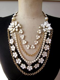 RESERVED Vintage Necklace Wedding Necklace White, $159.00 Love this upcycled repurposed necklace