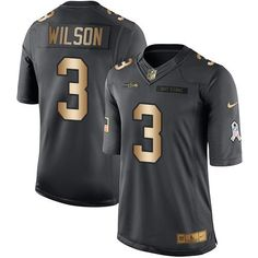 Nike Seahawks #3 Russell Wilson Black Men's Stitched NFL Limited Gold Salute To Service Jersey