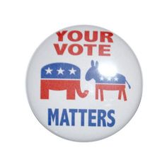 CAMPAIGN button Vote Republican Vote Democrat Your vote matters... ($2) ❤ liked on Polyvore featuring jewelry, brooches, magnetic jewelry, pin jewelry, tie pin, pin brooch and magnetic brooch