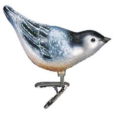 """Nuthatch Clip on Bird Christmas Ornament 18083 Merck Family's Old World Christmas Measures approximately 3 1/2"""" Mouth blown, hand painted, glass Christmas ornament from Merck Family's"""