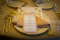 blush gold pink menu, gold place setting, boston wedding, boston summer wedding, omni parker wedding, downtown boston wedding
