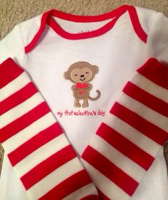First Valentines Day baby boy girl onesie leg warmer red stripe hat Love Bug little man brother Mothers Day photo prop NB 3 6 9 12 18 months on Etsy, $15.50
