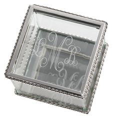 Engraved Square Glass Keepsake Box For Mothers