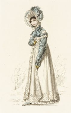 Walking dress, fashion plate, hand-colored engraving on paper, published London, March 1819.