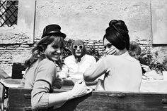 Alain Delon in the back with Natalie Delon and BB