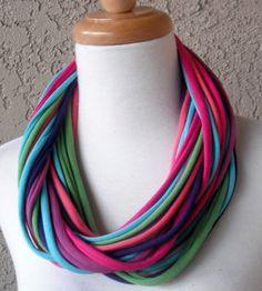 Color Burst Multicolor Mix T-Shirt Fabric Scarf, Circular, Eternity, Cowl, Handmade, Scarves. $22.00, via Etsy.