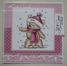 Pink christmas card featuring a LOT James bear image coloured with Copics