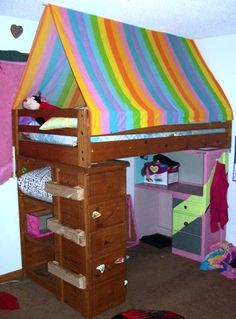 how to bunk bed fort Bunk Bed Canopies, Bunk Bed Fort, Girls Bedroom Canopy, Bunk Beds With Stairs, Kids Bunk Beds, Bedroom Ideas, Loft Spaces, Kid Spaces, Tent Camping Beds