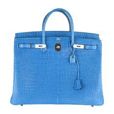 8b49ff5db6 HERMES BIRKIN BAG 40cm CROCODILE MYKONOS BLUE POROSUS Hermes Bags