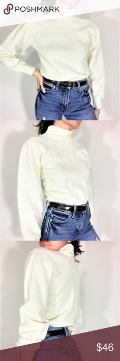 Vintage Wool Blend Minimalist Turtle Neck -vintage -no label -wool blend -off white/cream color -ribbed hem, cuff, and turtle neck  -medium stretch -no size label -model is 5,3/XS/33-25-34 -armpit to armpit approx. 35in -ribbed hem/waist approx. 29in -length (center front neckseam to hem) approx. 17in -all measurements taken flat Vintage Sweaters Cowl & Turtlenecks