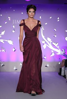 Brides: Jim Hjelm - Spring 2012. Style JH5177, luminescent chiffon A-line bridesmaid dress with a v-neckline, front slit, and draped straps, Jim Hjelm